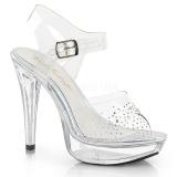 Transparent 13 cm COCKTAIL-508SD rhinestone platform high heels