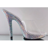 Transparent 13 cm LIP-101DM Mules Strass Heels