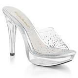 Transparent 14 cm COCKTAIL-501SD Platform Mules Shoes