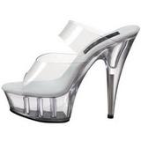 Transparent 15,5 cm Pleaser DELIGHT-602 Platform Mules Shoes
