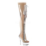 Transparent 15 cm DELIGHT-3026 overknee boots with laces