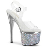 Transparent 18 cm ESTEEM-708CHLG platform pole dance high heel sandals silver