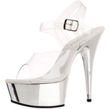 Trasparente 15 cm Pleaser DELIGHT-608 scarpe da cubista e spogliarellista cromo