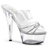 Trasparente 15 cm Pleaser KISS-202R Pantofole Tacco Alto Donna