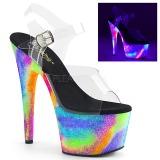 Trasparente 18 cm ADORE-708GXY Neon plateau sandali donna con tacco