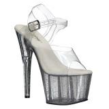Trasparente 18 cm ADORE-708MG scintillare plateau sandali donna con tacco