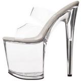 Trasparente 20 cm Pleaser FLAMINGO-802 Pantofole Tacco Alto Donna