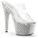 Trasparente Argento 18 cm BEJEWELED-702PS Strass Plateau Mules Alte