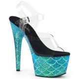 Turchese 18 cm ADORE-708MSLG scintillare plateau sandali donna con tacco