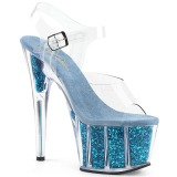 Turchese scintillare 18 cm Pleaser ADORE-708G scarpe con tacchi da pole dance