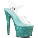 Turchese scintillare 18 cm Pleaser ADORE-708LG scarpe con tacchi da pole dance