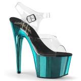 Turquoise 18 cm ADORE-708 Chrome Platform High Heels