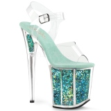 Turquoise 20 cm FLAMINGO-808GF glitter platform high heels shoes