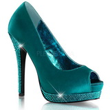 Turquoise Satin 13,5 cm BELLA-12R Rhinestone Platform Pumps Shoes