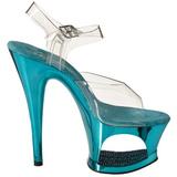 Turquoise Transparent 18 cm MOON-708DMCH High Heels Platform