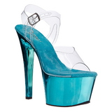 Turquoise Transparent 18 cm SKY-308 High Heels Platform