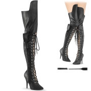 Vegan 13 cm SEDUCE-3082 thigh high boots for mens and drag queens in black