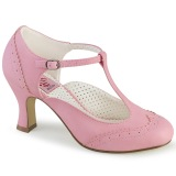 Vegan 7,5 cm FLAPPER-26 t-strap pumps retro vintage rose