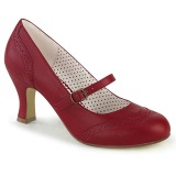 Vegan 7,5 cm FLAPPER-32 maryjane pumps retro vintage red