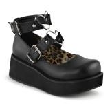 Vegano 6 cm DEMONIA SPRITE-02 scarpe décolleté mary jane neri