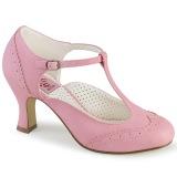 Vegano 7,5 cm FLAPPER-26 retro vintage scarpe décolleté cinturino a t rosa