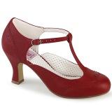 Vegano 7,5 cm FLAPPER-26 retro vintage scarpe décolleté cinturino a t rosso