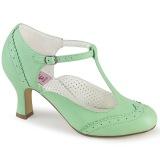 Vegano 7,5 cm FLAPPER-26 retro vintage scarpe décolleté cinturino a t verde