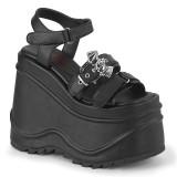 Vegano Nero 15 cm Demonia WAVE-13 scarpe lolita sandali con zeppa plateau