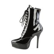 Vegano nero 13,5 cm INDULGE-1020-1 stivali alla caviglia con tacco per trans
