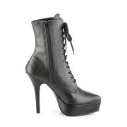 Vegano nero 13,5 cm INDULGE-1020 stivali alla caviglia con tacco per trans
