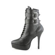 Vegano nero 13,5 cm INDULGE-1026 stivali alla caviglia con tacco per trans