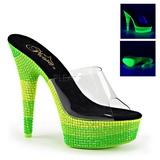Verde 15 cm DELIGHT-601UVS neon plateau ciabatta donna con tacco
