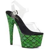 Verde 18 cm ADORE-708MSLG scintillare plateau sandali donna con tacco