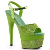 Verde 18 cm ADORE-709-2G scintillare plateau sandali donna con tacco