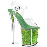 Verde 20 cm FLAMINGO-808GF sandali da cubista e spogliarellista scintillare