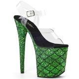 Verde 20 cm FLAMINGO-808MSLG scintillare plateau sandali donna con tacco