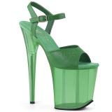 Verde 20 cm FLAMINGO-809T sandali da cubista e spogliarellista acrilico