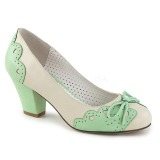 Verde 6,5 cm retro vintage WIGGLE-17 Pinup scarpe décolleté con tacco spesso