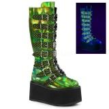 Verde 9 cm DAMNED-318 stivali donna con fibbie e plateau alto