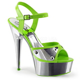 Verde Neon 15 cm DELIGHT-609NC Sandali Donna Plateau Cromo