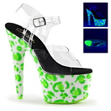 Verde Neon 18 cm Pleaser BEJEWELED-708UVLP Plateau Tacchi Alti a Spillo