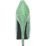 Verde Strass Cristallo 14,5 cm Burlesque TEEZE-06R Plateau Scarpe Décolleté