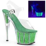 Verde scintillare 18 cm Pleaser ADORE-708UVG scarpe con tacchi da pole dance
