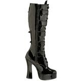 Vernice 13 cm ELECTRA-2042 stivali donna con fibbie e plateau alto