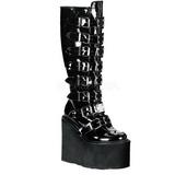 Vernice 9 cm SWING-815 stivali donna con fibbie e plateau alto