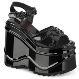 Verniciata 15 cm Demonia WAVE-09 scarpe lolita sandali con zeppa plateau