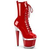 Verniciata 18 cm SPECTATOR-1040 Stivali alla caviglia e plateau con stringati in rosso
