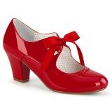 Verniciata Rosso 6,5 cm WIGGLE-32 retro vintage scarpe décolleté maryjane tacco spesso