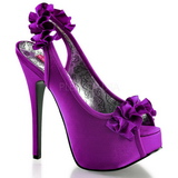 Violet Satin 14,5 cm TEEZE-56 Platform High Heeled Sandal Shoes