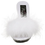 White 12,5 cm GLITZY-501-8 Marabou Feathers Mules Shoes